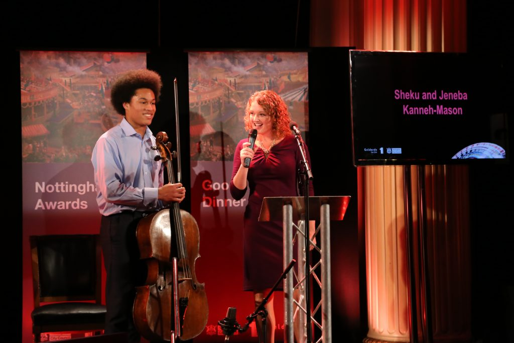 MC Frances Finn asking Sheku Kanneh-Mason about being the BBC Young Musician of the Year 2016.